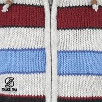 Shakaloha Shakaloha Wolljacke - Strickjacke Jive Grau Rot NavyBlue mit Fleece-Futter und Kapuze mit Innenkragen - Herren - Uni - Handgemacht in Nepal aus Schafwolle