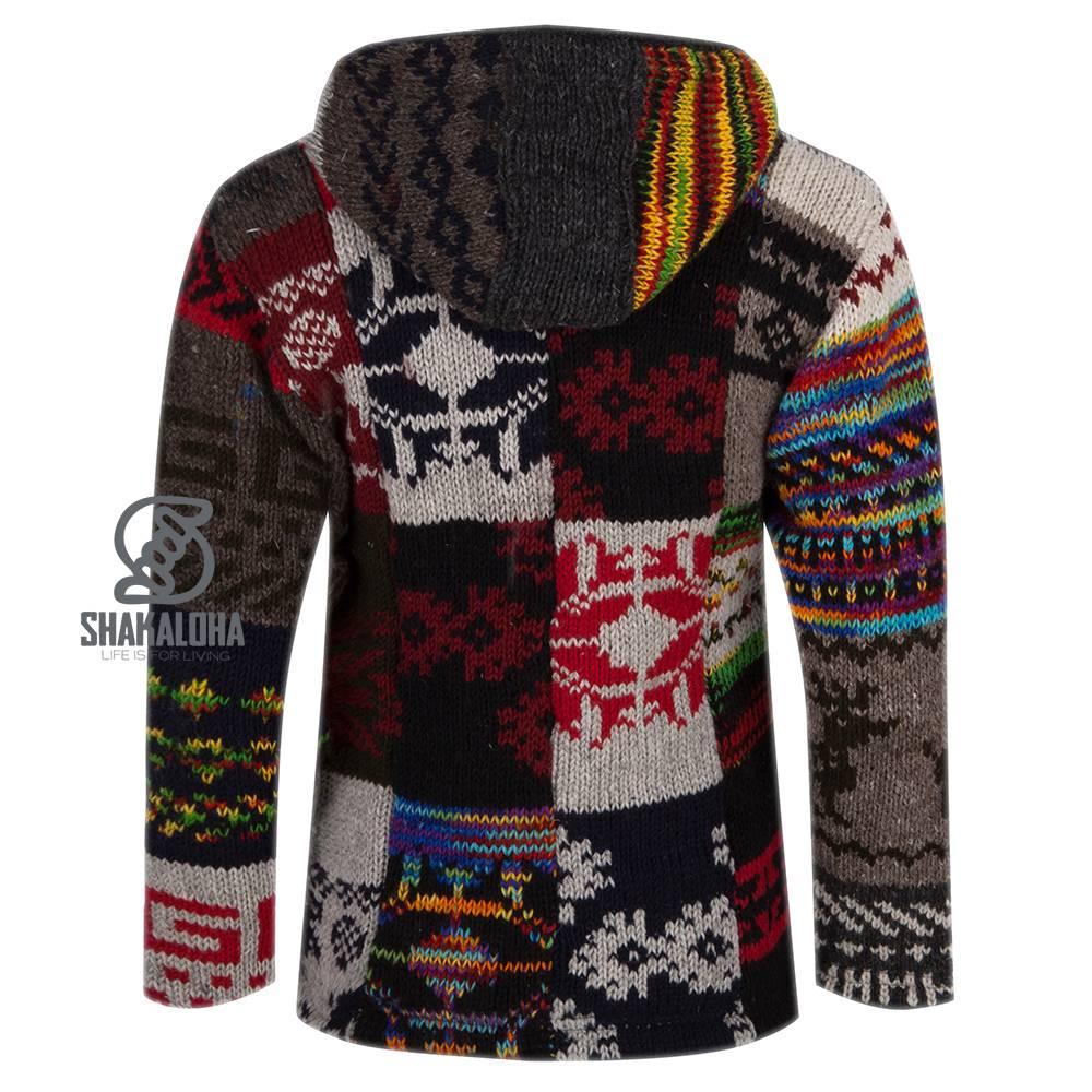 Shakaloha Shakaloha Wolljacke - Strickjacke Patch NH Hell mehrfarbig mit Fleece-Futter und Kapuze mit Innenkragen - Damen - Handgemacht in Nepal aus Schafwolle