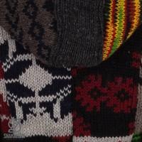Shakaloha Shakaloha Gebreid Wollen Vest Patch NH Fel meerkleurig met Fleece Voering en Capuchon met Binnenkraag - Dames - Handgemaakt in Nepal van Schapenwol