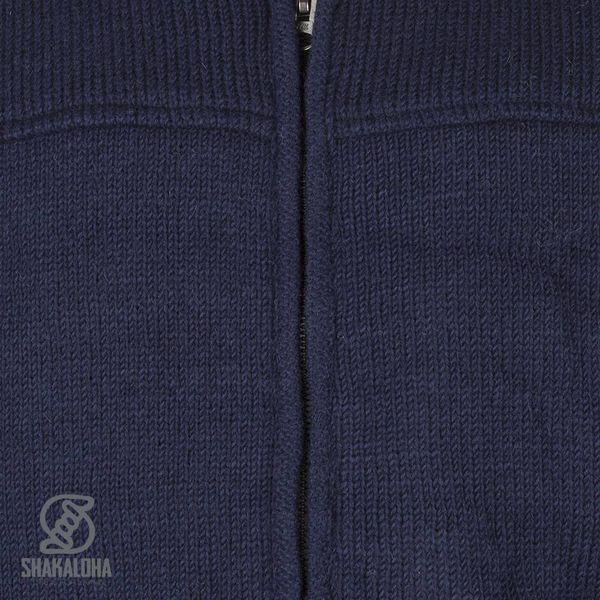 Shakaloha Shakaloha Wolljacke - Strickjacke Navigator Navy blau mit Fleece-Futter und Abnehmbarer Kapuze - Herren - Uni - Handgemacht in Nepal aus Schafwolle