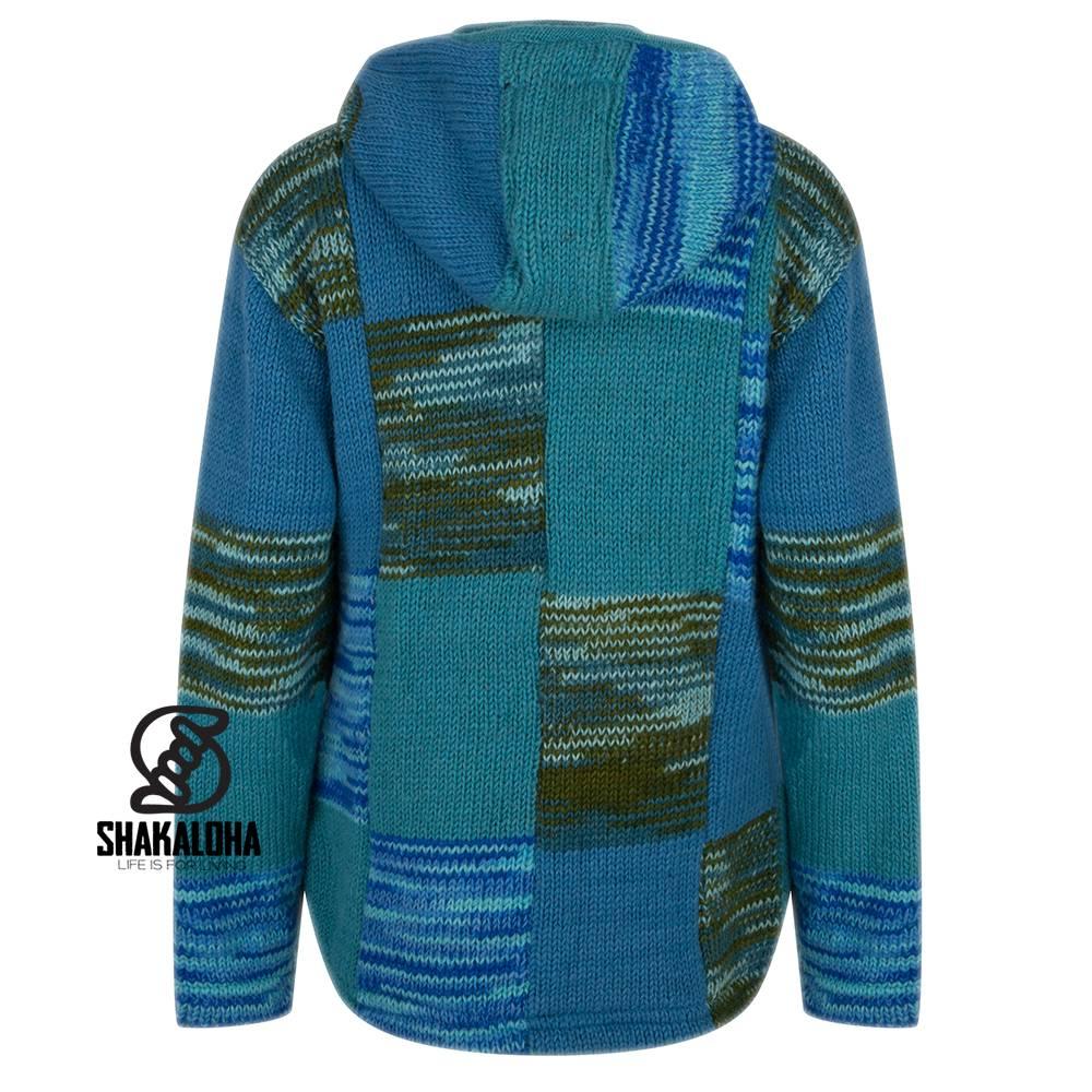 Shakaloha Shakaloha Gebreid Wollen Vest Patch NH Aqua met Fleece Voering en Capuchon met Binnenkraag - Dames - Handgemaakt in Nepal van Schapenwol