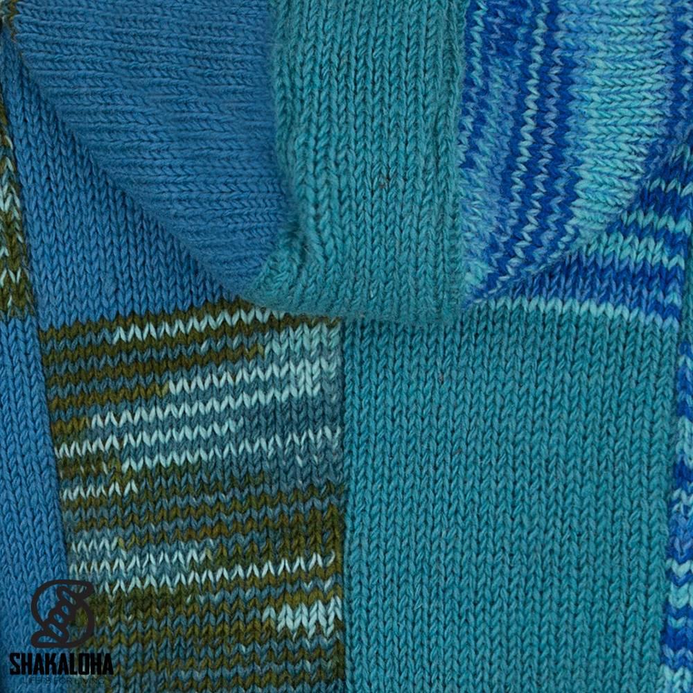 Shakaloha Shakaloha Veste en Laine Tricoté Patch NH Aqua avec Doublure en polaire et Capuche avec col intérieur - Femmes - Fabriqué à la main au Népal en laine de mouton