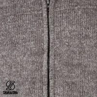 Shakaloha Shakaloha Knitted Woolen Jacket Navigator Light Brown Taupe with Fleece Lining and Detachable Hood - Men - Unisex - Handmade in Nepal from sheep's wool