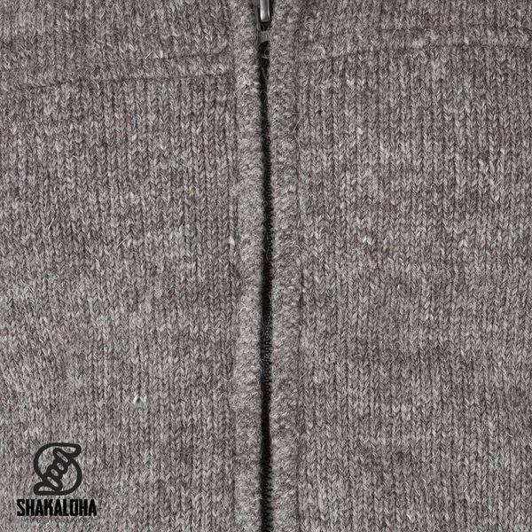 Shakaloha Shakaloha Gebreid Wollen Vest Navigator Licht Bruin Taupe met Fleece Voering en Afneembare Capuchon - Man/Uni - Handgemaakt in Nepal van Schapenwol