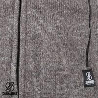 Shakaloha Shakaloha Wolljacke - Strickjacke Navigator Hellbraune Taupe mit Fleece-Futter und Abnehmbarer Kapuze - Herren - Uni - Handgemacht in Nepal aus Schafwolle