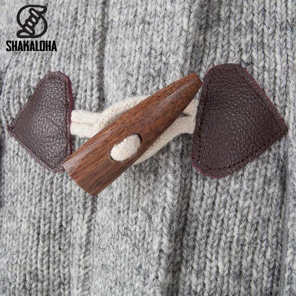 Shakaloha Shakaloha Wolljacke - Strickjacke Cody Grau mit Fleece-Futter und Abnehmbarer Kapuze - Damen - Handgemacht in Nepal aus Schafwolle