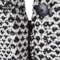 Shakaloha Shakaloha Wolljacke - Strickjacke Cooger Schwarze Creme mit Fleece-Futter und hohem Kragen - Damen - Handgemacht in Nepal aus Schafwolle