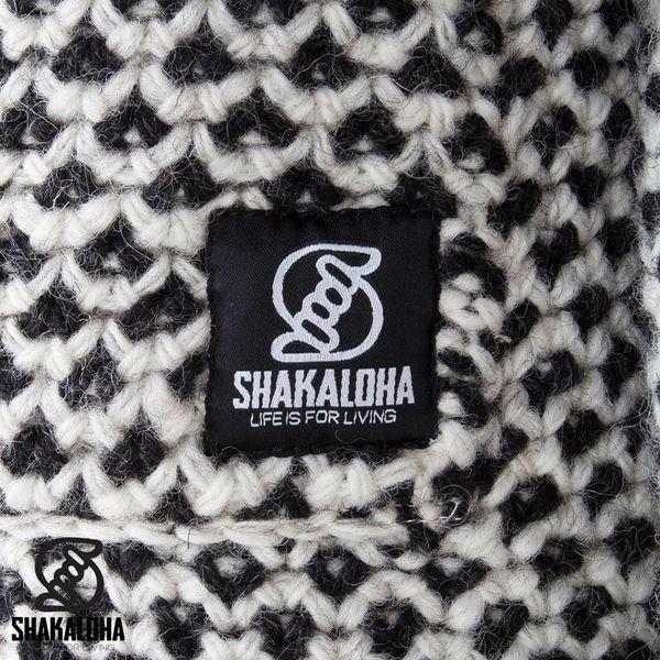 Shakaloha Shakaloha Knitted Woolen Jacket Cooger Black Cream with Fleece Lining and High Collar - Woman - Handmade in Nepal from sheep's wool