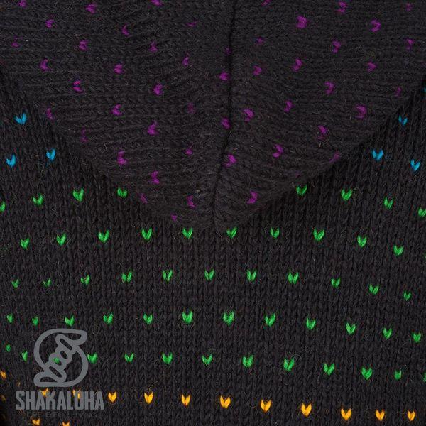 Shakaloha Disco Schwarz bunte schafwollene Strickjacke f