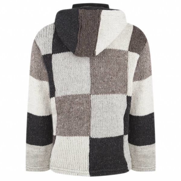 Shakaloha Shakaloha Knitted Woolen Jacket Patch NH Natural colors with Fleece Lining and Hood with inner collar - Men - Unisex - Handmade in Nepal from sheep's wool