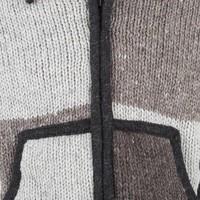 Shakaloha Shakaloha Gebreid Wollen Vest Patch NH Natuurkleuren met Fleece Voering en Capuchon met Binnenkraag - Man/Uni - Handgemaakt in Nepal van Schapenwol