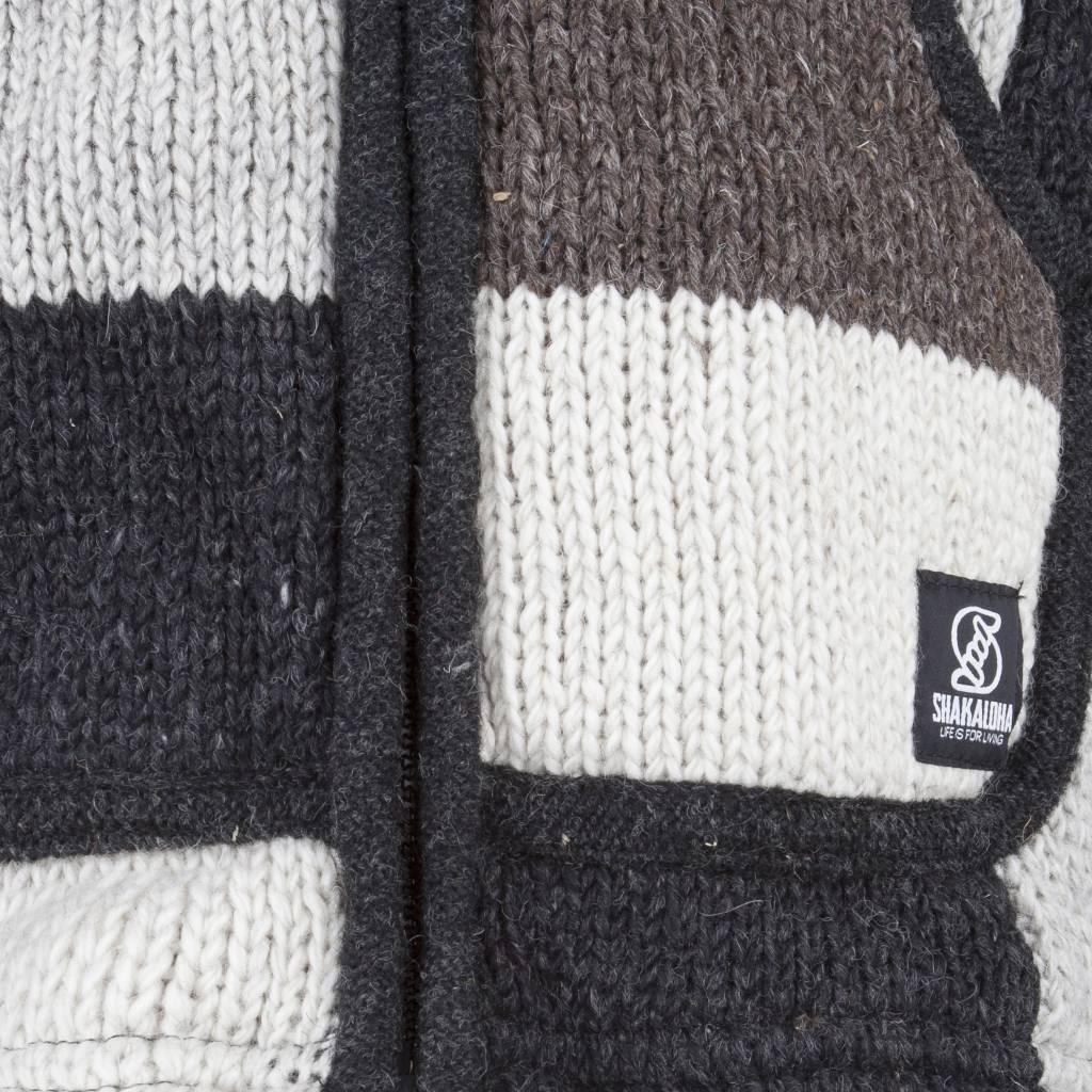 Shakaloha Shakaloha Wolljacke - Strickjacke Patch NH Natürliche Farben mit Fleece-Futter und Kapuze mit Innenkragen - Herren - Uni - Handgemacht in Nepal aus Schafwolle
