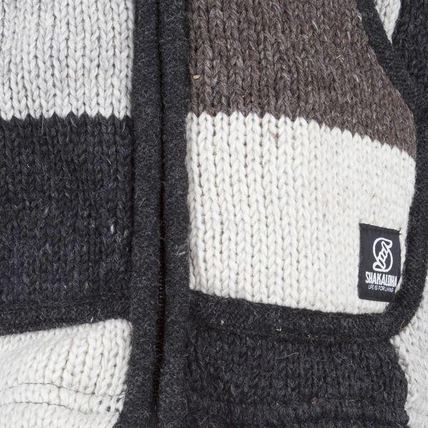 Shakaloha Shakaloha Veste en Laine Tricoté Patch NH Couleurs naturelles avec Doublure en polaire et Capuche avec col intérieur - Hommes - Uni - Fabriqué à la main au Népal en laine de mouton