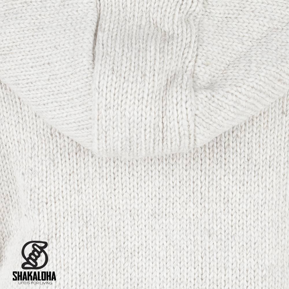 Shakaloha Shakaloha Gebreid Wollen Vest Flash Ziphood Beige Crème met Fleece Voering en Afneembare Capuchon - Man/Uni - Handgemaakt in Nepal van Schapenwol