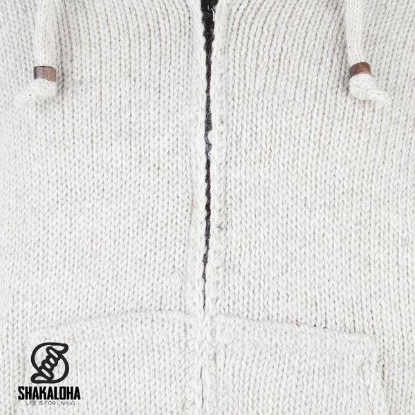 Shakaloha Shakaloha Wolljacke - Strickjacke Flash Ziphood Beige Creme mit Fleece-Futter und Abnehmbarer Kapuze - Herren - Uni - Handgemacht in Nepal aus Schafwolle