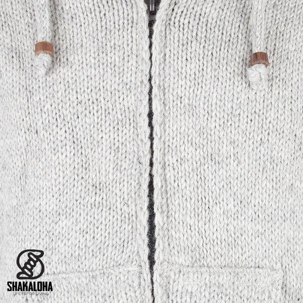 Shakaloha Shakaloha Gebreid Wollen Vest Flash Ziphood Grijs met Fleece Voering en Afneembare Capuchon - Man/Uni - Handgemaakt in Nepal van Schapenwol