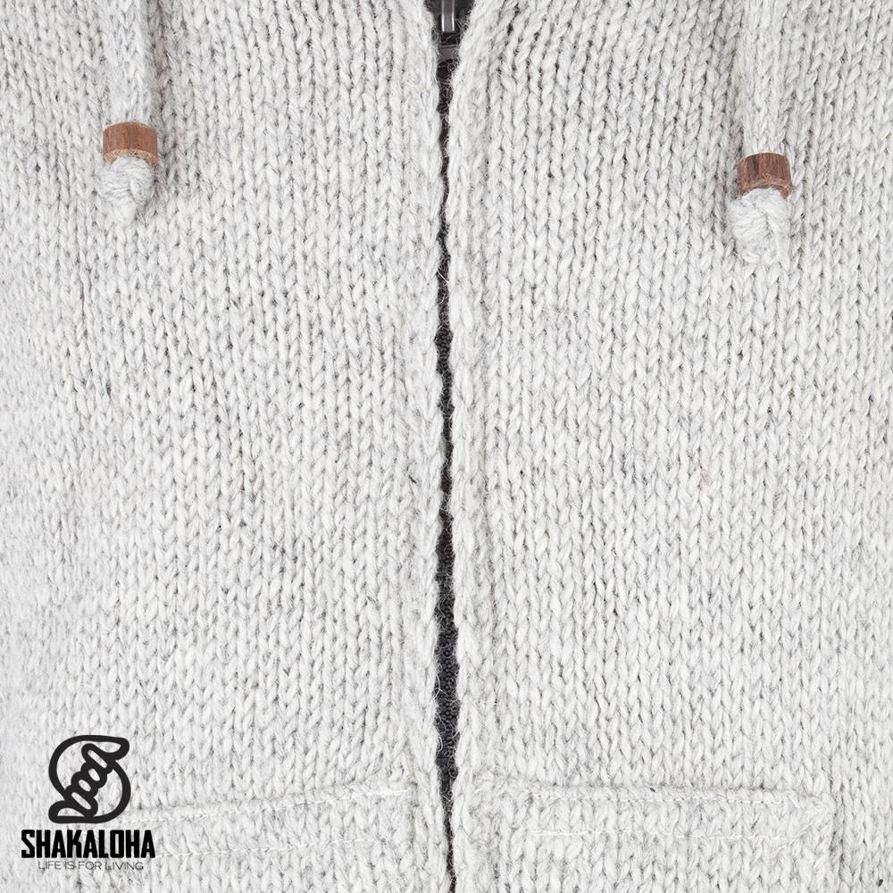 Shakaloha Shakaloha Wolljacke - Strickjacke Flash Ziphood Grau mit Fleece-Futter und Abnehmbarer Kapuze - Herren - Uni - Handgemacht in Nepal aus Schafwolle
