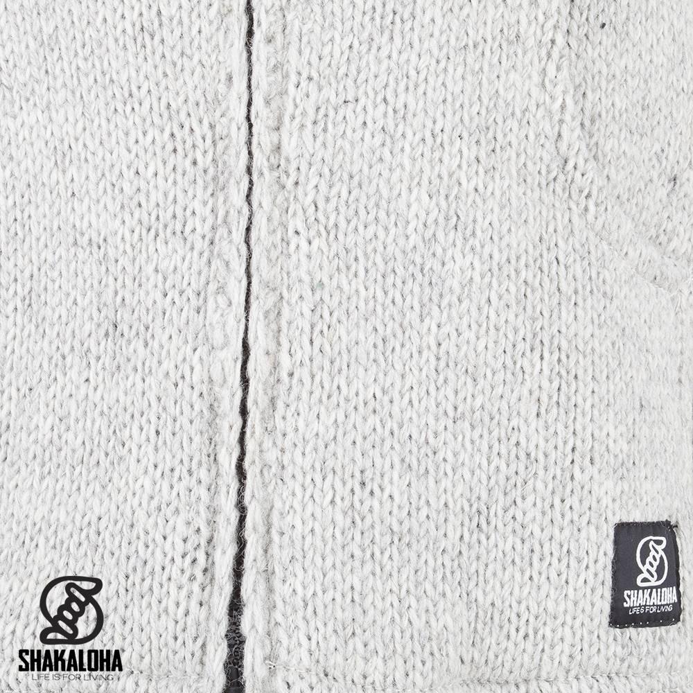 Shakaloha Shakaloha Veste en Laine Tricoté Flash Ziphood gris avec Doublure en polaire et Capuche détachable - Hommes - Uni - Fabriqué à la main au Népal en laine de mouton