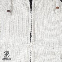 Shakaloha Shakaloha Gebreid Wollen Vest Crush Ziphood Beige Crème met Fleece Voering en Afneembare Capuchon - Man/Uni - Handgemaakt in Nepal van Schapenwol