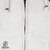 Shakaloha Shakaloha Wolljacke - Strickjacke Crush Ziphood Beige Creme mit Fleece-Futter und Abnehmbarer Kapuze - Herren - Uni - Handgemacht in Nepal aus Schafwolle