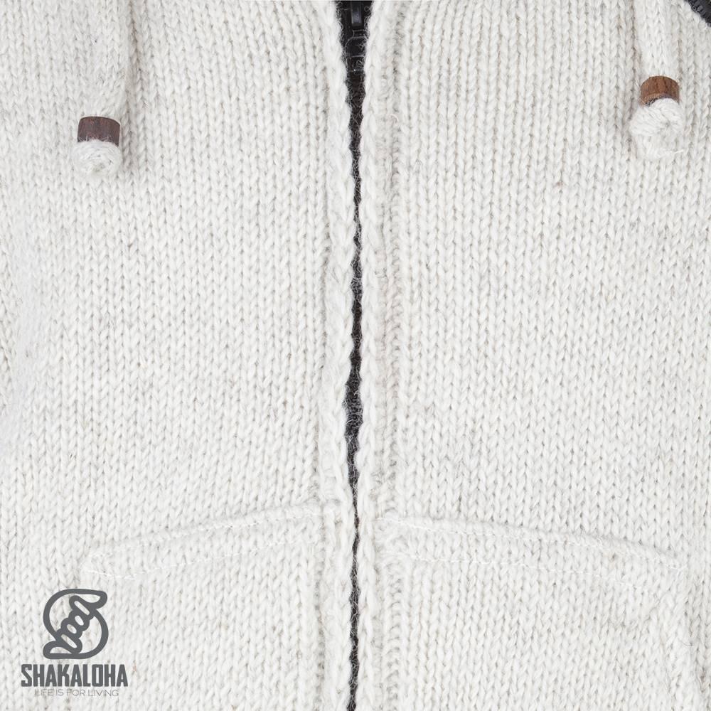 Shakaloha Shakaloha Knitted Woolen Jacket Crush Ziphood Beige Cream with Fleece Lining and Detachable Hood - Men - Unisex - Handmade in Nepal from sheep's wool