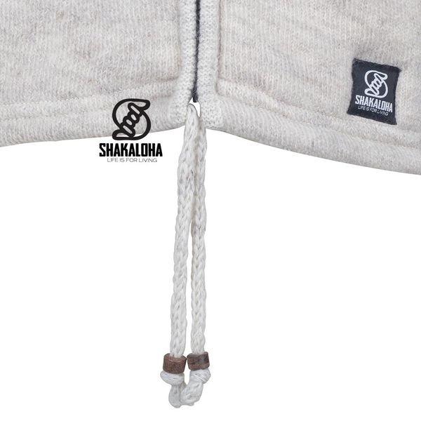 Shakaloha Shakaloha Knitted Woolen Jacket Finn Beige Cream with Fleece Lining and Detachable Hood - Men - Unisex - Handmade in Nepal from sheep's wool