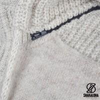 Shakaloha Shakaloha Gebreid Wollen Vest Finn Beige Crème met Fleece Voering en Afneembare Capuchon - Man/Uni - Handgemaakt in Nepal van Schapenwol