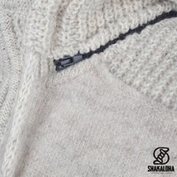 Shakaloha Shakaloha Wolljacke - Strickjacke Finn Beige Creme mit Fleece-Futter und Abnehmbarer Kapuze - Herren - Uni - Handgemacht in Nepal aus Schafwolle
