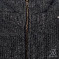 Shakaloha Shakaloha Knitted Woolen Jacket Tyler Anthracite with Teddy Lining and Detachable Hood - Woman - Handmade in Nepal from sheep's wool