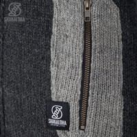 Shakaloha Shakaloha Wolljacke - Strickjacke Tyler Anthrazit mit Teddy Futter und Abnehmbarer Kapuze - Damen - Handgemacht in Nepal aus Schafwolle