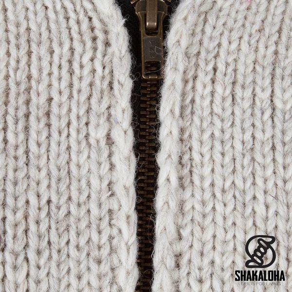 Shakaloha Shakaloha Veste en Laine Tricoté Tyler Crème beige avec Doublure en Peluche et Capuche détachable - Femmes - Fabriqué à la main au Népal en laine de mouton