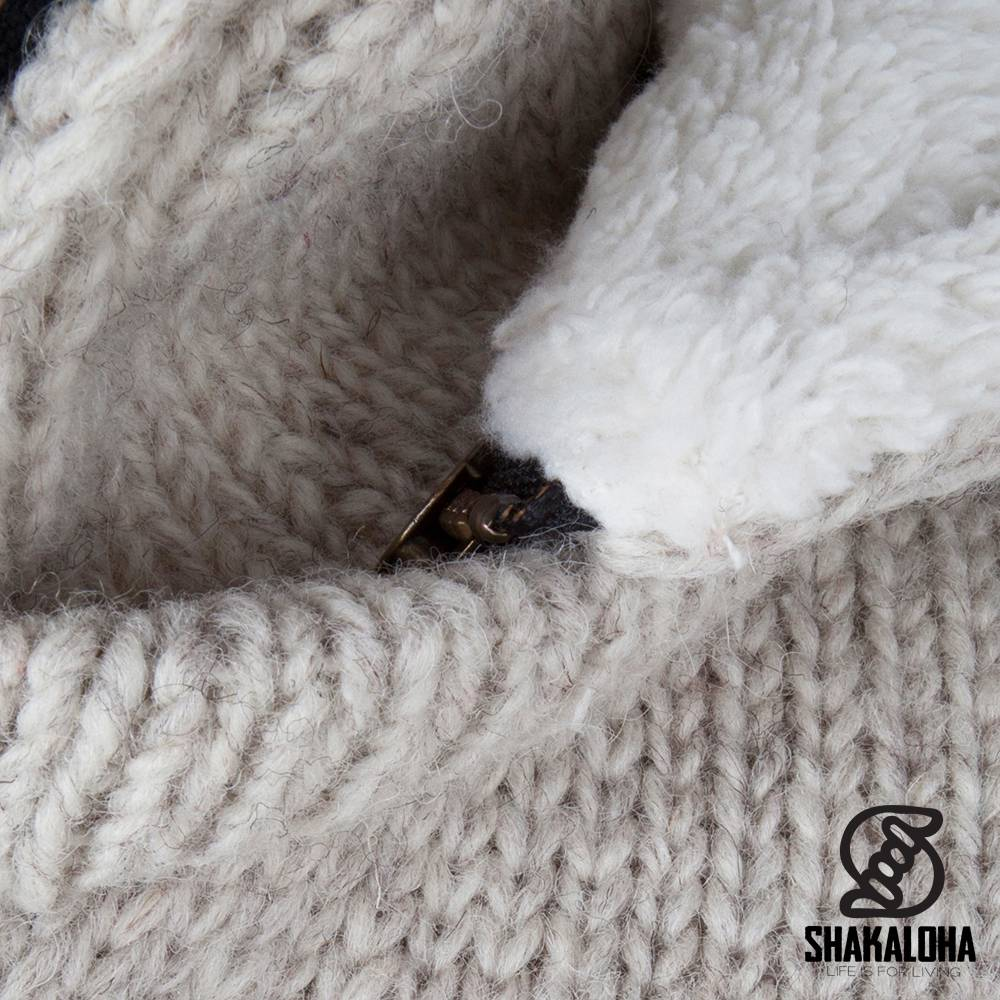 Shakaloha Shakaloha Wolljacke - Strickjacke Tyler Beige Creme mit Teddy Futter und Abnehmbarer Kapuze - Damen - Handgemacht in Nepal aus Schafwolle