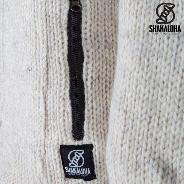 Shakaloha Shakaloha Wolljacke - Strickjacke Ballistic Beige Creme mit Fleece-Futter und Abnehmbarer Kapuze - Damen - Handgemacht in Nepal aus Schafwolle