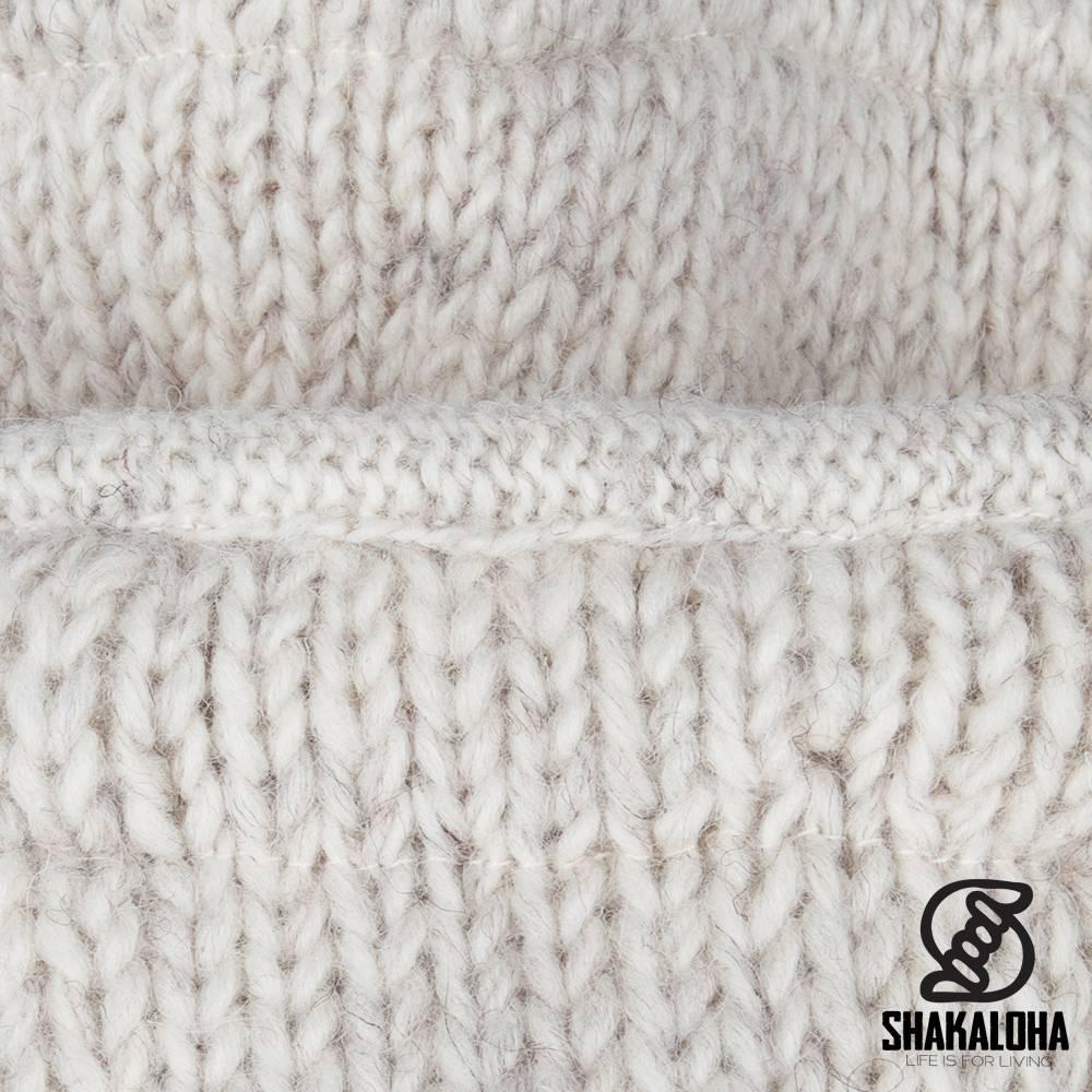 Shakaloha Shakaloha Knitted Woolen Jacket Ballistic Beige Cream with Fleece Lining and Detachable Hood - Woman - Handmade in Nepal from sheep's wool