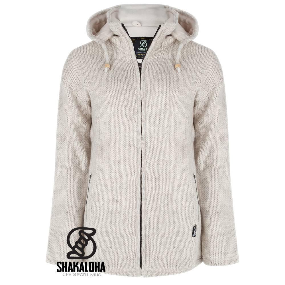 Shakaloha Shakaloha Gebreid Wollen Vest Ballistic Beige Crème met Fleece Voering en Afneembare Capuchon - Dames - Handgemaakt in Nepal van Schapenwol