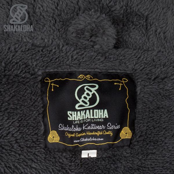 Shakaloha Shakaloha Wolljacke - Strickjacke Bodhi Anthrazit mit Teddy Futter und Abnehmbarer Kapuze - Herren - Uni - Handgemacht in Nepal aus Schafwolle