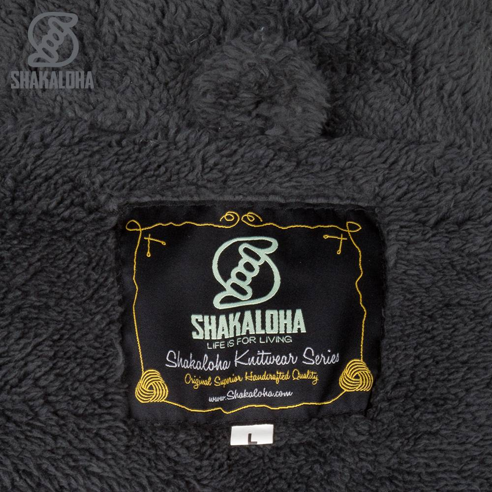 Shakaloha Cardigan en laine tricotée Shakaloha Bodhi Anthracite avec doublure en polaire Teddy et capuche amovible - Homme / Uni - Fait à la main au Népal à partir de laine de mouton