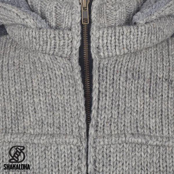 Shakaloha Shakaloha Knitted Wool Cardigan Bodhi Gray with Teddy Fleece Lining and Detachable Hood - Man / Uni - Handmade in Nepal from Sheep Wool