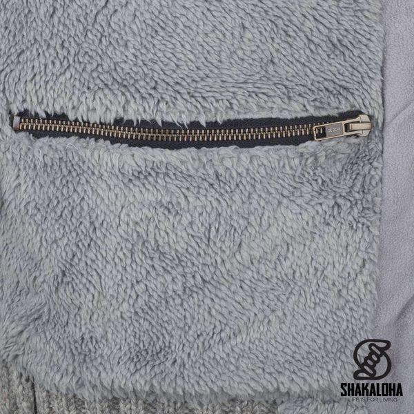 Shakaloha Shakaloha Gebreid Wollen Vest Bodhi Grijs met Teddy Fleece Voering en Afneembare Capuchon - Man/Uni - Handgemaakt in Nepal van Schapenwol