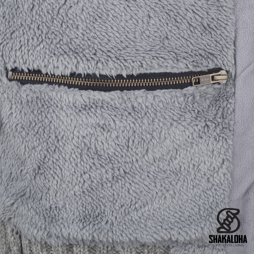 Shakaloha Shakaloha Strickwolle Strickjacke Bodhi Grau mit Teddy Fleece Futter und abnehmbarer Kapuze - Man / Uni - Handgefertigt in Nepal aus Schafwolle