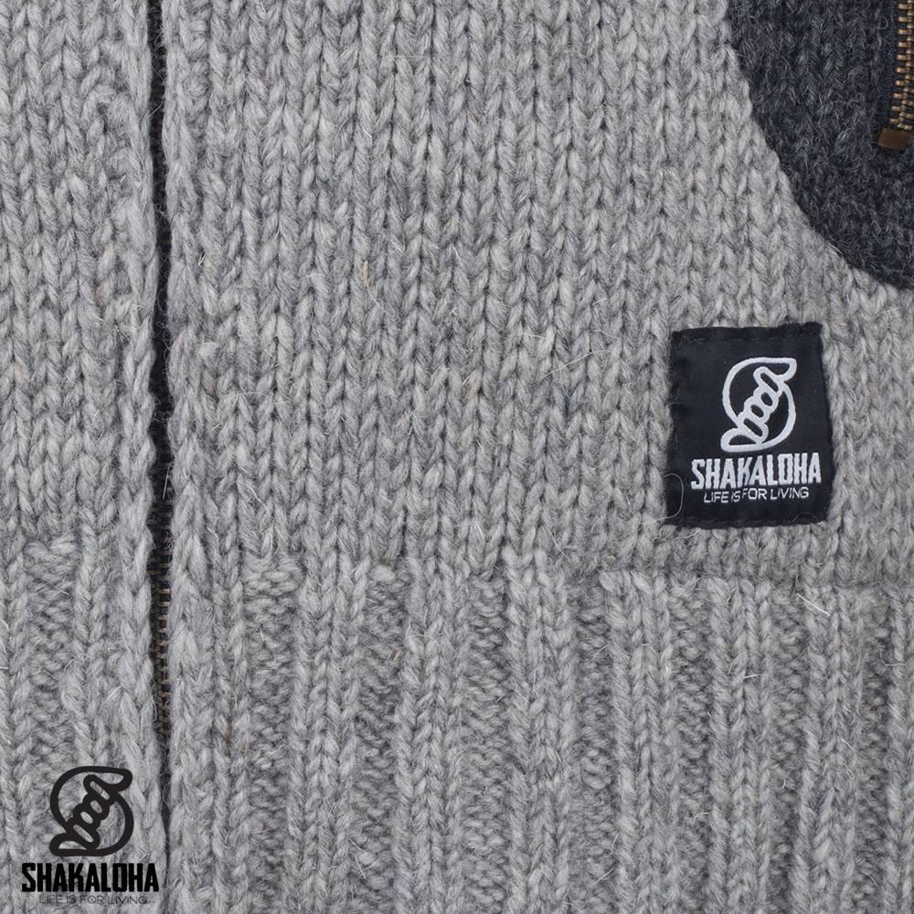 Shakaloha Cardigan en laine tricoté Shakaloha Bodhi gris avec doublure en polaire Teddy et capuche amovible - Homme / Uni - Fait à la main au Népal à partir de laine de mouton