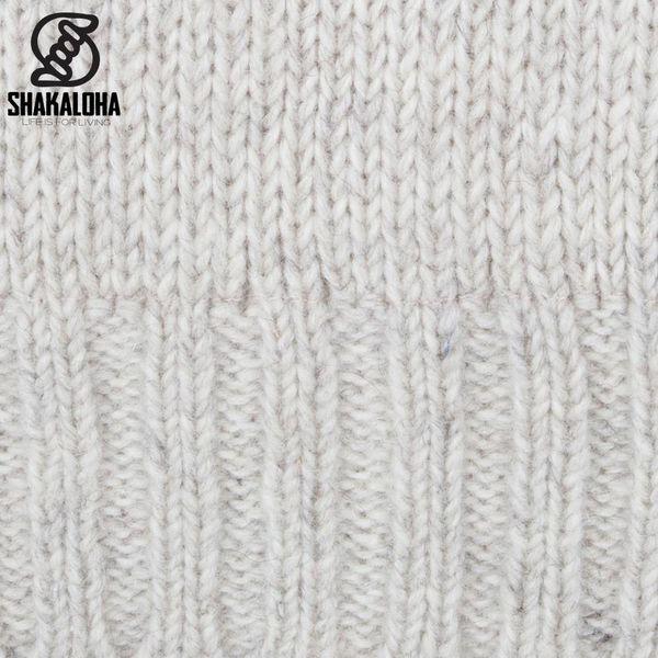 Shakaloha Shakaloha Strickwolle Cardigan Bodhi Beige Creme mit Teddy Fleece Futter und abnehmbarer Kapuze - Man / Uni - Handgefertigt in Nepal aus Schafwolle