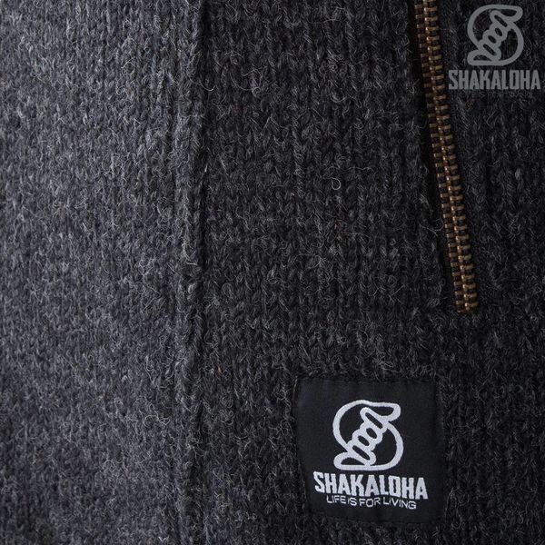 Shakaloha Shakaloha Wolljacke - Strickjacke Baltonic Anthrazit mit Fleece-Futter und Abnehmbarer Kapuze - Damen - Handgemacht in Nepal aus Schafwolle