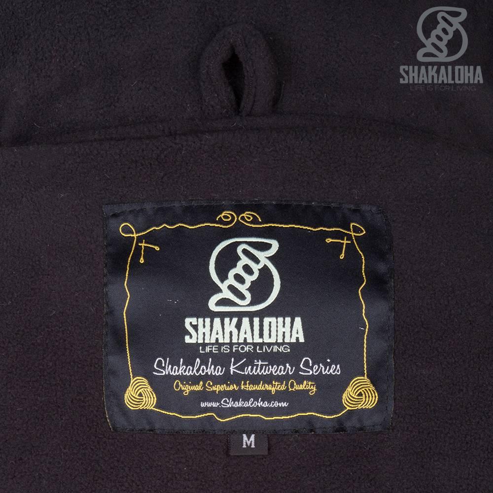 Shakaloha Shakaloha Veste en Laine Tricoté Baltonic Anthracite avec Doublure en polaire et Capuche détachable - Femmes - Fabriqué à la main au Népal en laine de mouton