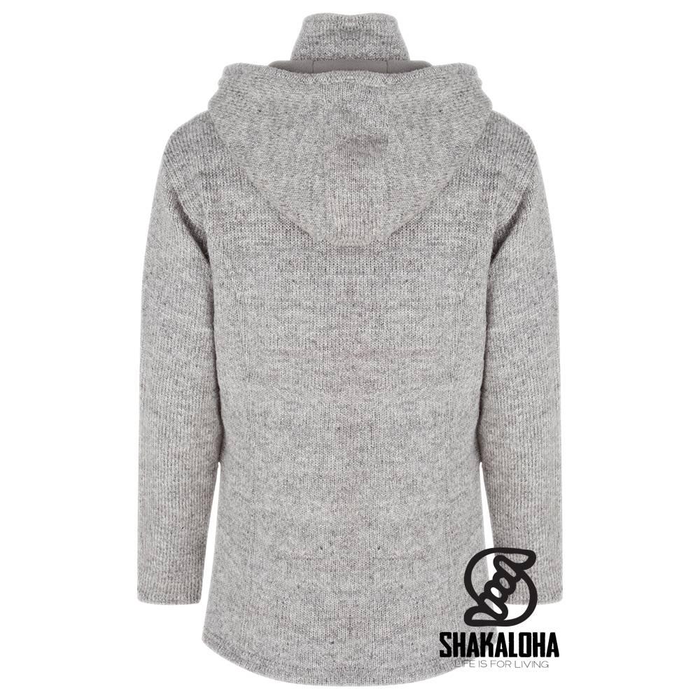 Shakaloha Shakaloha Veste en Laine Tricoté Baltonic gris avec Doublure en polaire et Capuche détachable - Femmes - Fabriqué à la main au Népal en laine de mouton