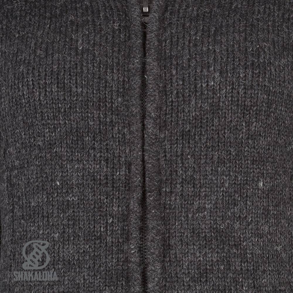 Shakaloha Shakaloha Gebreid Wollen Vest Baltic 1-Ply Antraciet met Fleece Voering en Afneembare Capuchon - Dames - Handgemaakt in Nepal van Schapenwol