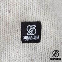 Shakaloha Shakaloha Wolljacke - Strickjacke Whistler Beige Creme mit Fleece-Futter und Abnehmbarer Kapuze - Damen - Handgemacht in Nepal aus Schafwolle