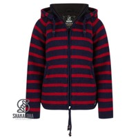 Shakaloha Shakaloha Knitted Woolen Jacket Breton Ziphood Navy Blue Red with Fleece Lining and Detachable Hood - Woman - Handmade in Nepal from sheep's wool