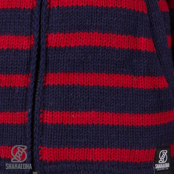 Shakaloha Shakaloha Gebreid Wollen Vest Breton Ziphood Navy Blauw Rood met Fleece Voering en Afneembare Capuchon - Dames - Handgemaakt in Nepal van Schapenwol