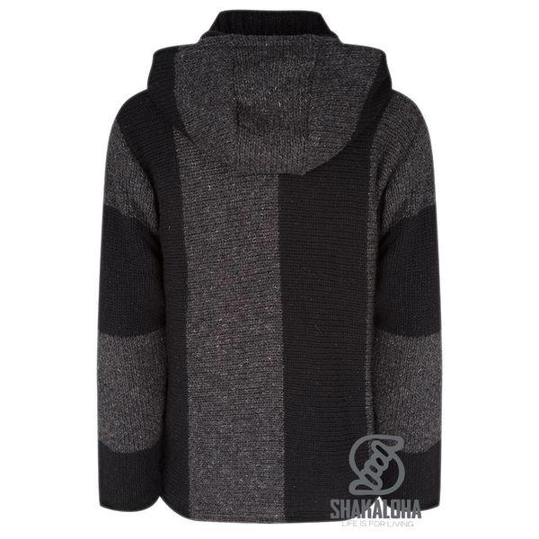 Shakaloha Shakaloha Gebreid Wollen Vest Riser Zwart met Fleece Voering en Afneembare Capuchon - Man/Uni - Handgemaakt in Nepal van Schapenwol